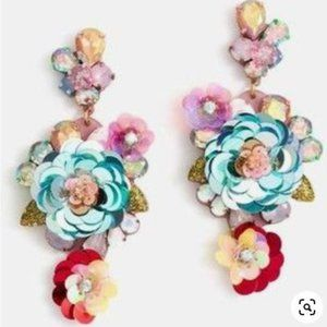 🔥RARE JCrew Blooming Sequin Paillette Earrings